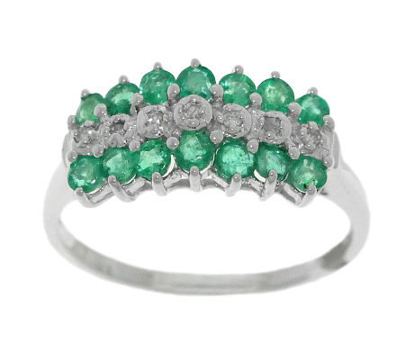 0.60 ct tw Emerald & Diamond Accent Ring, 14K Gold