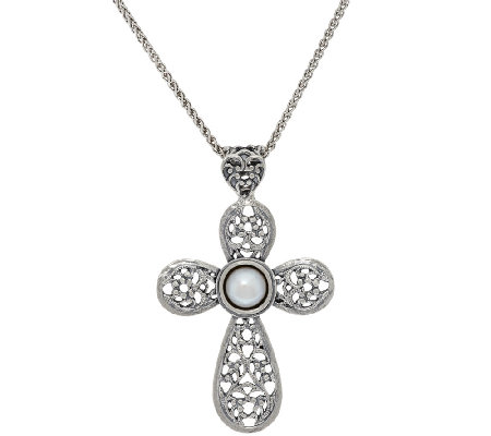 Sterling Silver Cultured Pearl Lace Cross Pendant w/ Chain by Or Paz