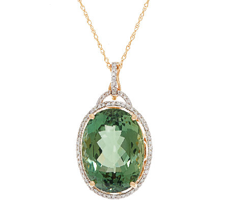 "Green Apatite and Diamond Enhancer w/ 18"" Chain, 14K 16.00 cts"