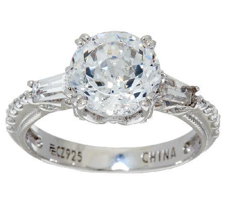 diamonique 100 facet ring platinum clad page 1 qvc