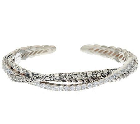 JAI Sterling & Diamonique Open Work Hill Tribe Cuff Bracelet