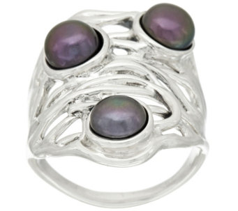 """As Is"" Hagit Sterling Silver Cultured Pearl Openwork Ring - J325271"