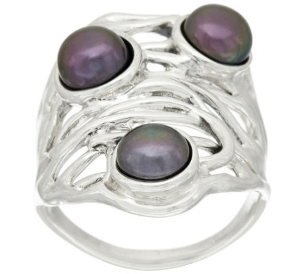"""As Is"" Hagit Sterling Silver Cultured Pearl Openwork Ring"
