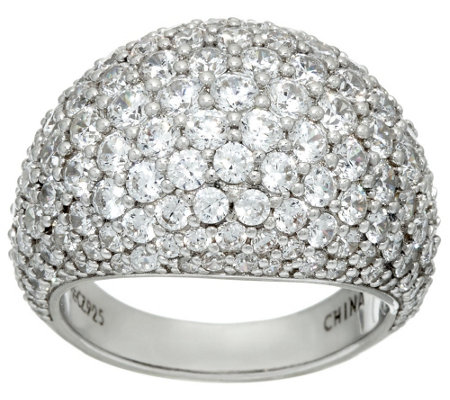 Diamonique Pave' Domed Ring, Sterling