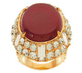 """As Is"" Luxe Rachel Zoe Cabochon & Crystal Ornate Ring - J327771"
