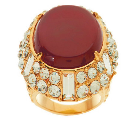 """As Is"" Luxe Rachel Zoe Cabochon & Crystal Ornate Ring"