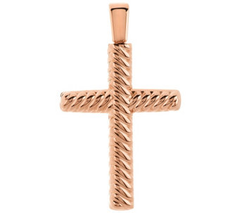 """As Is"" Oro Nuovo Polished Ribbed Twist Cross Pendant 14K - J328171"