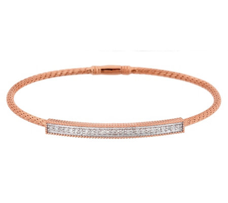 """As Is"" Diamond Bar Station Woven Bracelet, Sterling 1/4ct by Affinity"