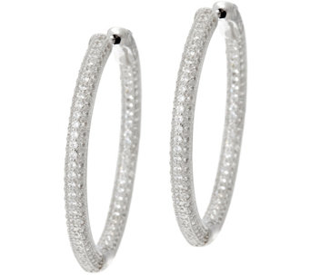 "Diamonique 1-1/4"" Pave' Hoop Earrings, Sterling or 18K Plated - J329871"