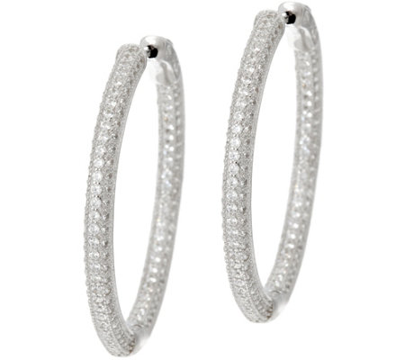 "Diamonique 1-1/4"" Pave' Hoop Earrings, Sterling"