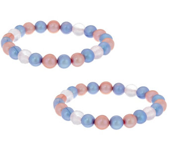 Honora Cultured Pearl 8.0mm & Rose Quartz Set of 2 Bracelets - J329971