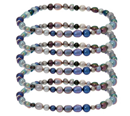 Honora Set of 5 Cultured Pearl Stretch Bracelets