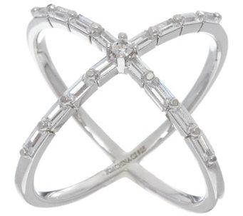 Diamonique X-Design Baguette Cut Ring, Sterling or 18K Clad - J330571