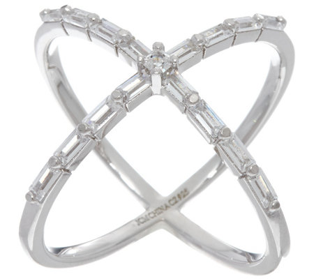Diamonique X-Design Baguette Cut Ring, Sterling or 18K Clad