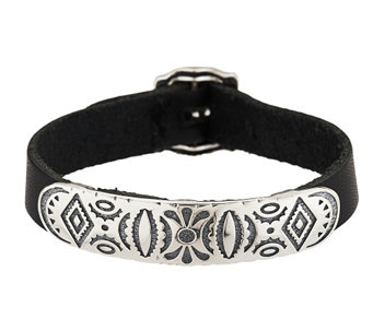 """As Is"" American West Sterling Adj. Leather Strap Bracelet - J331871"