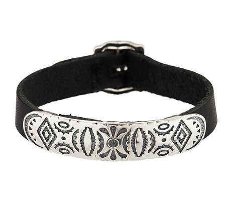 """As Is"" American West Sterling Adj. Leather Strap Bracelet"