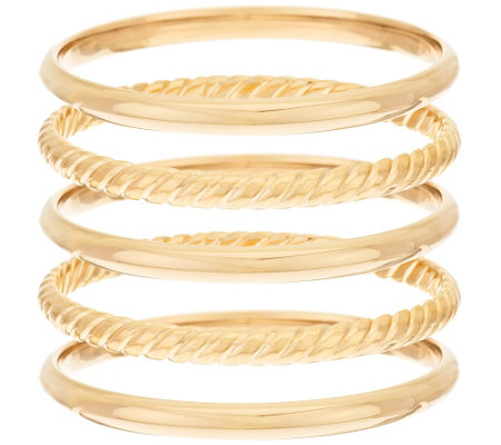 """As Is"" Bronzo Italia Small Set of 5 Rope & Polished Round Textured Bangle"
