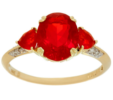 """As Is"" Mexican Fire Opal & Diamond 3-Stone Ring 14K, 2.00 cttw"