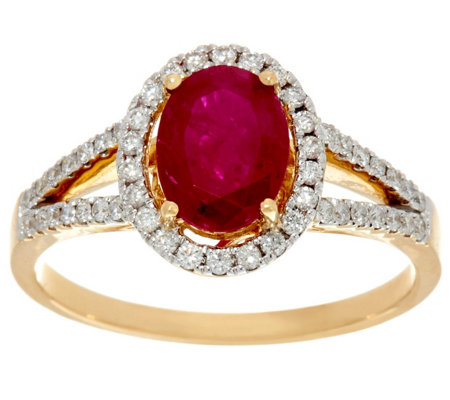 """As Is"" Ruby, Emerald or Sapphire & Diamond Ring, 14K 0.90 ct"