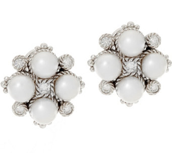 Judith Ripka Sterling Cultured Pearl & Diamonique Earrings - J333671