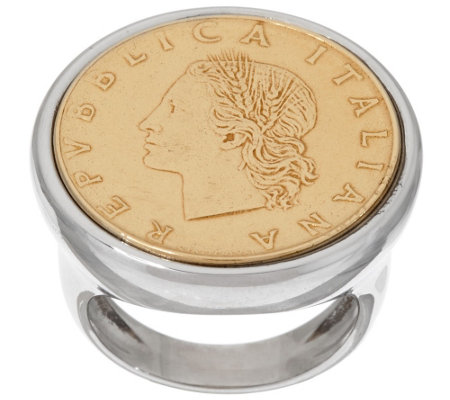 """As Is"" Bronze 20 Lire Coin Two-tone Ring by Bronzo Italia"