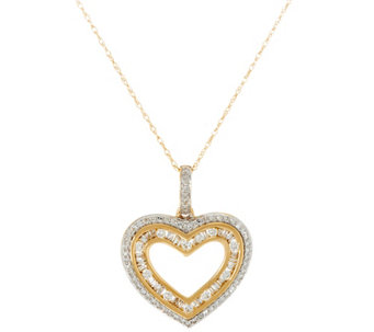 Baguette & Round Diamond Heart Pendant w/ Chain, 14K, by Affinity - J334171