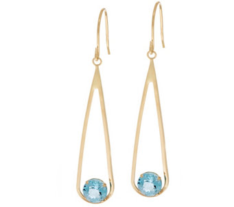 14K Gold Teardrop Gemstone Dangle Earrings - J334371