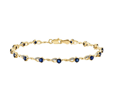 "7"" Choice of Gemstone Tennis Bracelet, 14K Gold"