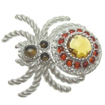 Judith Ripka Sterling Silver Gemstone & DMQSpider Pin