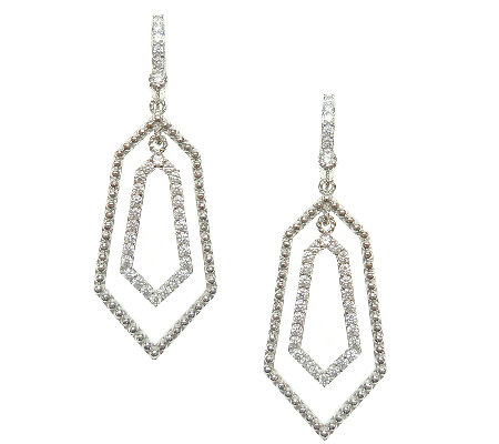 Judith Ripka Sterling & Diamonique Geometric Dangle Earrings
