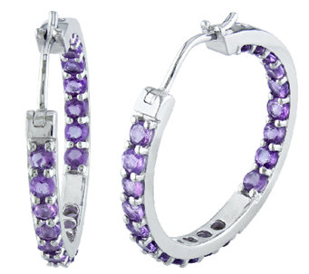 "Sterling 2.40cttw Amethyst Inside Outside 1"" Hoop Earrings - J338171"