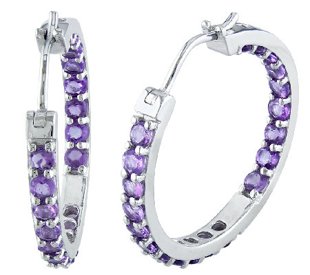 "Sterling 2.40cttw Amethyst Inside Outside 1"" Hoop Earrings"