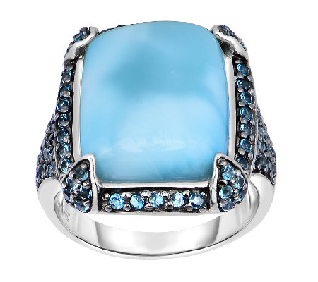 7.00 cttw Larimar & London Blue Topaz Ring, Sterling