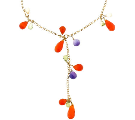 Sterling & 14K Gold-Plated Gemstone Y  Necklace