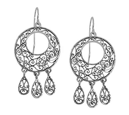 Sterling Silver Round Lace Dangle Earrings by Or Paz