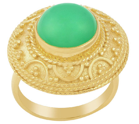 Sterling & 14K Gold Plated Chrysoprase Ring