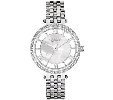 Caravelle New York Women's Silvertone Crystal Bracelet Watch