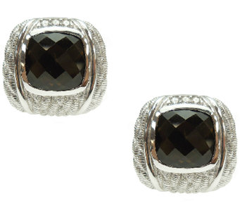 Judith Ripka Sterling 6.20cttw Smoky Quartz Button Earrings - J340571