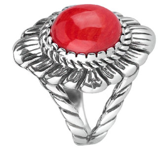 American West Sterling Red Coral Bold Ring - J341171
