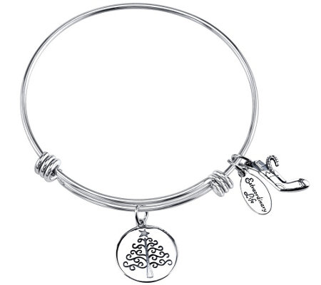 Extraordinary Life Sterling Happy Holidays Adj.Bangle