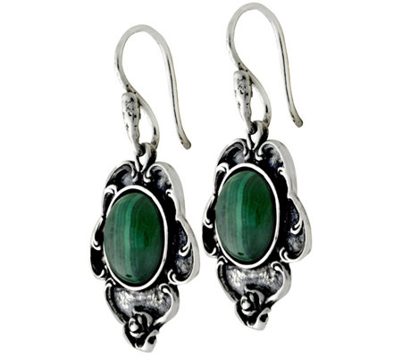 Sterling Malachite Dangle Earrings by Or Paz