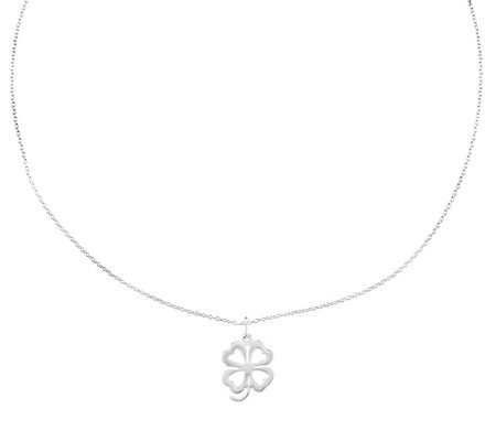 "Sterling Four-leaf Cutout Clover Pendant w/ 18""Necklace"
