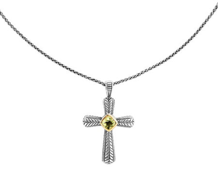 "Sterling and 14K Limon Quartz Cross Pendant w/18"" Chain"