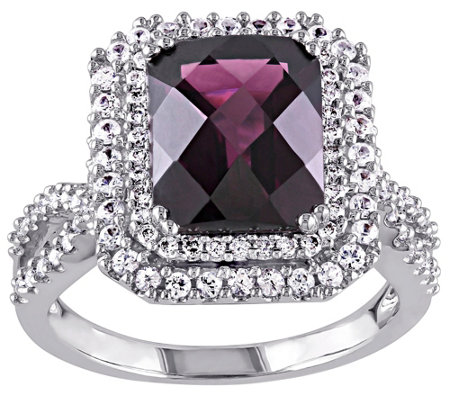 4.00 ct Rhodolite, Diamond & White Sapphire Ring, 14K Gold