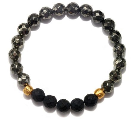 Satya Pyrite and Black Onyx Stretch Bracelet