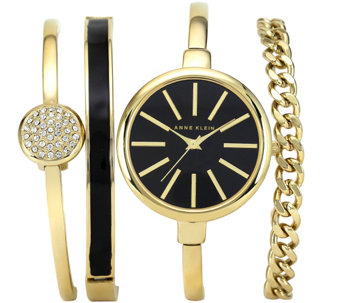 Anne Klein Women's Goldtone Bangle Watch and Bracelet Set - J342971