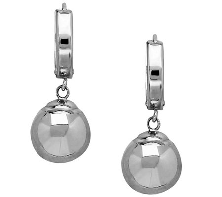 EternaGold Polished Bead Dangle Hoop Earrings,14K