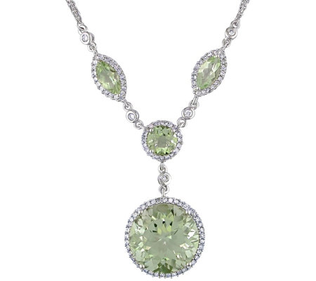 11.50 cttw Green Amethyst & 1/2 cttw Diamond Necklace, 14K