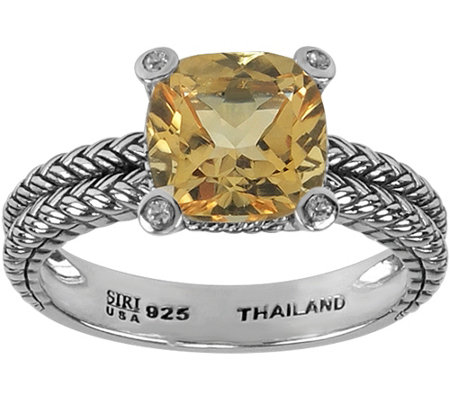 Sterling 2.00 ct Citrine and White Topaz Accent Ring