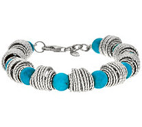 Italian Sterling Silver Hammered & Turquoise Bead Bracelet - J347771